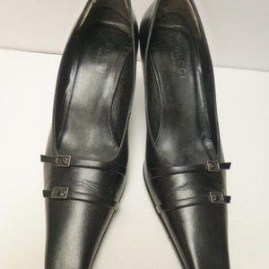 gucci pumps 39c black leather vintage